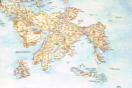 World Map (detail) by Nina Katchadourian